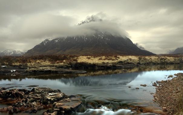 Фото обои пейзаж, туман, река, гора