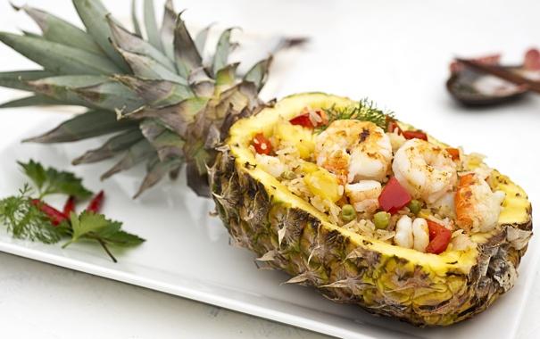 Фото обои ананас, салат, креветки