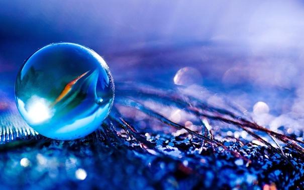 Фото обои стекло, синий, отражение, шарик