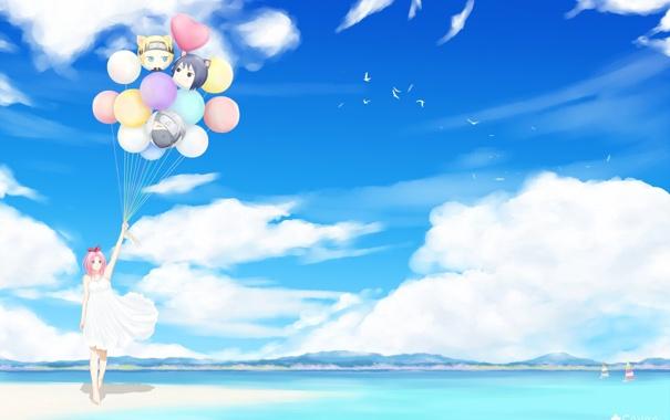 Фото обои море, пляж, воздушные шары, девочка, naruto, art, sakura haruno