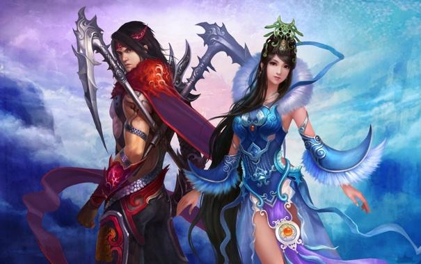 Фото обои девушка, China, Восток, Китай, fantasy, sky, mountains