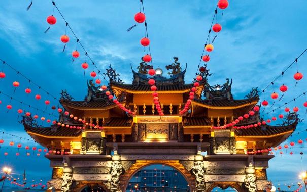 Фото обои украшения, фонарики, Малайзия, Пенанг, Храм девяти императорских богов