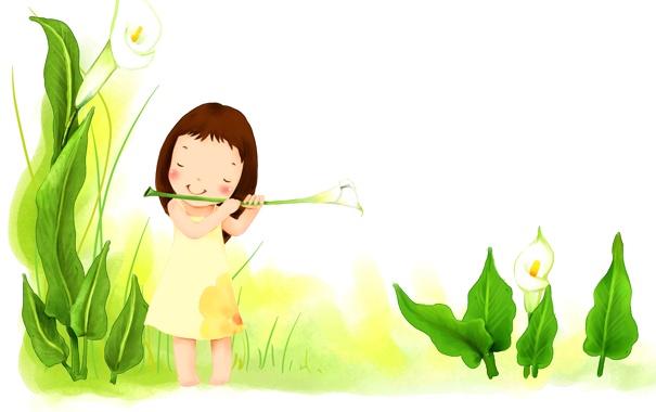 Фото обои трава, листья, цветы, улыбка, платье, девочка, детские обои