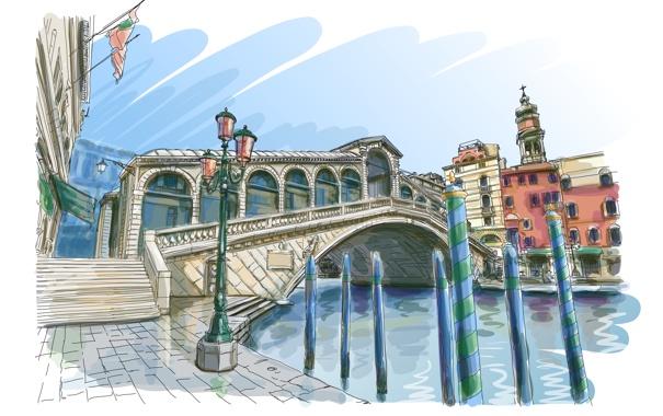 Фото обои мост, арт, лестница, фонарь, Венеция, канал