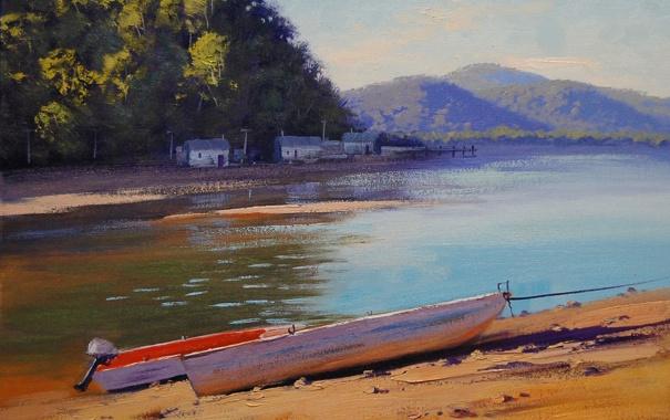 Фото обои река, рисунок, лодки, арт, artsaus, patonga creek