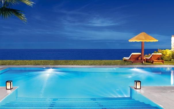 Фото обои бассейн, вечер, океан