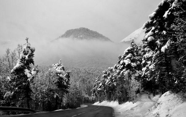 Фото обои зима, дорога, лес, снег, пейзаж, горы, фото