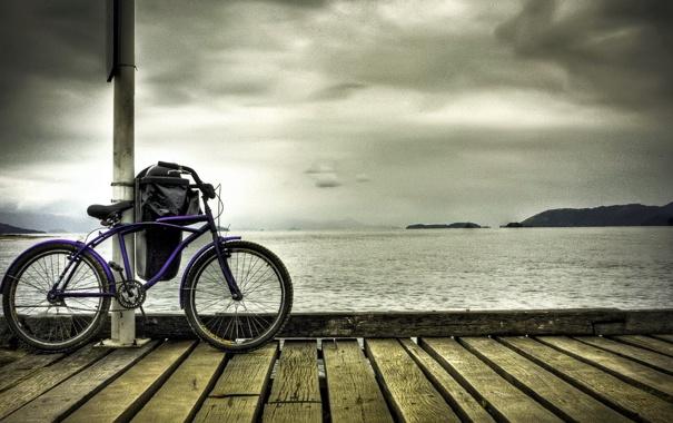 Фото обои море, велосипед, причал, bike, привал