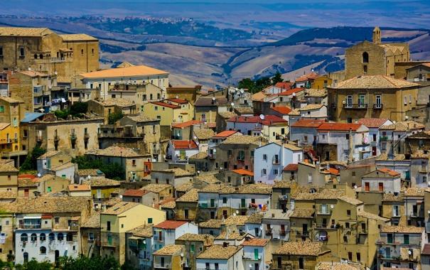 Фото обои небо, горы, дома, Италия, Базиликата
