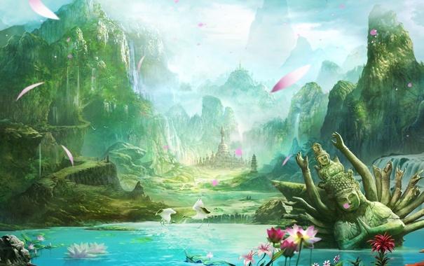 Фото обои пейзаж, горы, озеро, лепестки, лотос, храм, статуя
