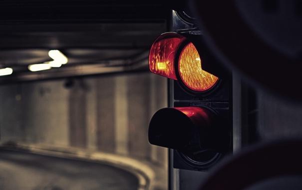 Фото обои свет, туннель, светофор