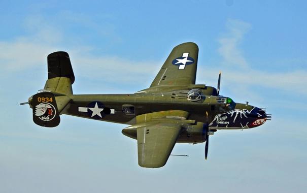 Фото обои полет, бомбардировщик, американский, North American, двухмоторный, средний, B-25J