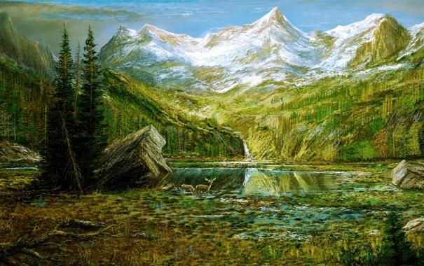 Фото обои лес, горы, олени, озеро, картина