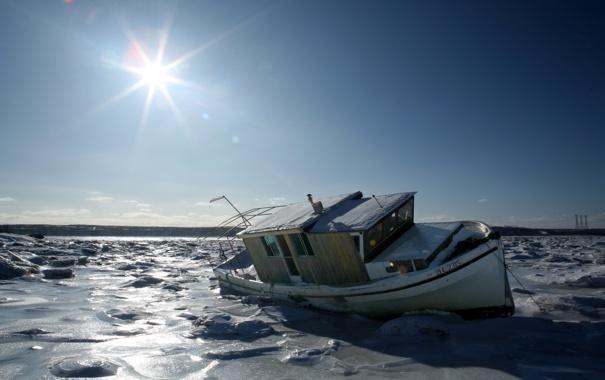 Фото обои лед, зима, небо, солнце, лучи, пейзаж, природа