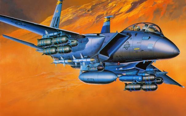 Фото обои авиация, истребитель, самолёт, ВВС, F-15E, двухместный