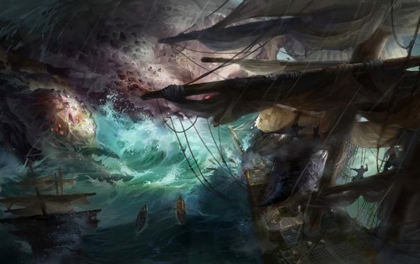 Фото обои море, шторм, люди, монстр, корабли, арт