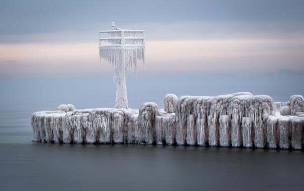 Фото обои лёд, мост, море