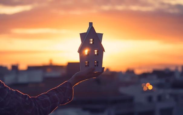 Фото обои солнечный свет, My little house, домик