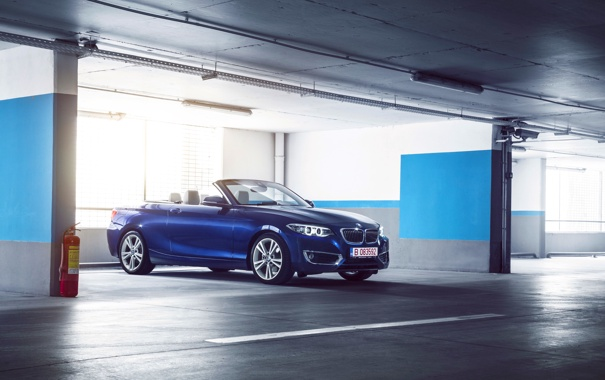 Фото обои BMW, German, Car, Blue, Cabriolet, Garage, 220D