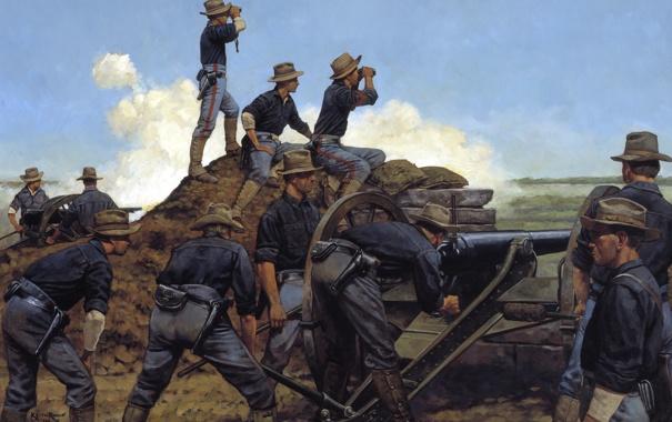 Фото обои война, солдаты, пушка, кавбои, Artillery, Utah Light