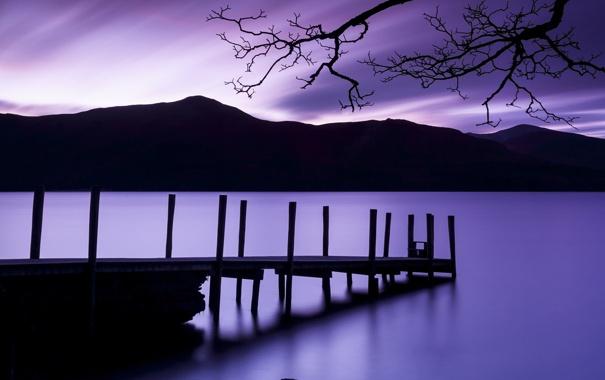 Фото обои мостик, горы, озеро, вечер, лето