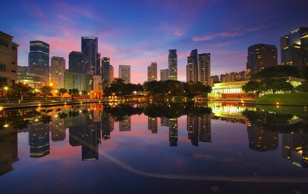 Фото обои закат, озеро, отражение, зеркало, горизонт, Малайзия, Куала-Лумпур
