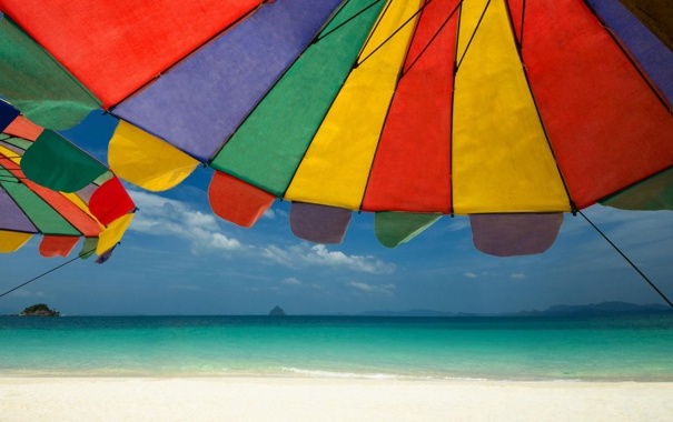 Фото обои море, пляж, лето, небо, солнце, свет, природа
