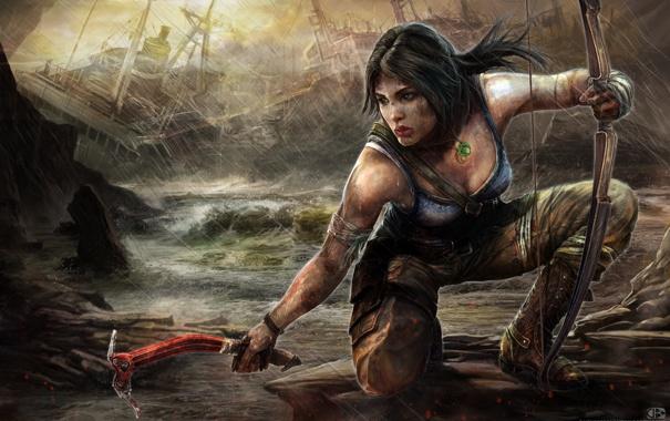 Фото обои лук, кулон, Tomb Raider, Лара Крофт, Lara Croft