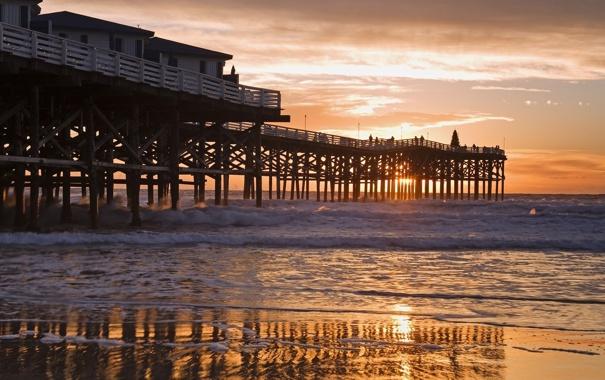 Фото обои солнце, закат, люди, океан, берег, пирс, california