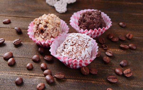 Фото обои кофе, шоколад, зерна, конфеты, сладости, chocolate, coffee