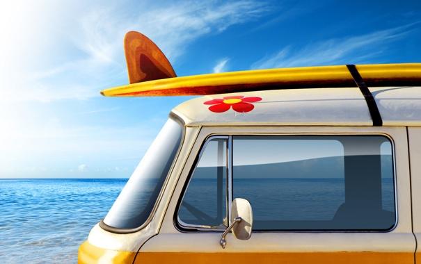 Фото обои море, авто, лето, небо, вода, машины, настроение