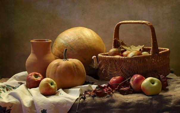 Фото обои корзина, яблоки, лук, тыква, натюрморт