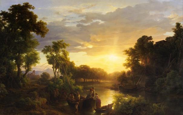 Фото обои деревья, пейзаж, картина, рыбаки, Marko Karoly, italian Landscapes at Sunset Fishermen
