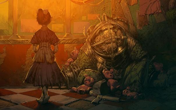 Фото обои металл, игрушки, арт, костюм, девочка, Bioshock
