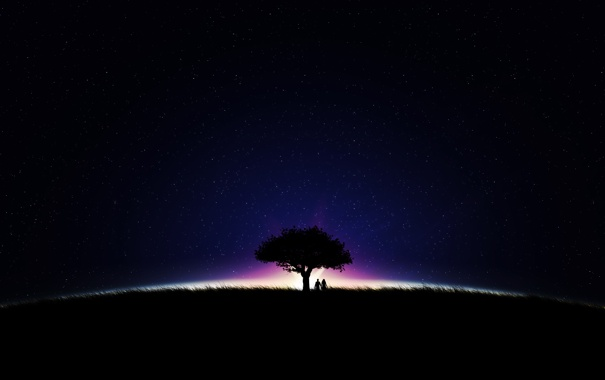 Фото обои поле, небо, девушка, свет, деревья, ночь, фото