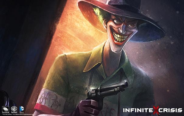 Фото обои улыбка, пистолет, оружие, револьвер, joker, infinite crisis