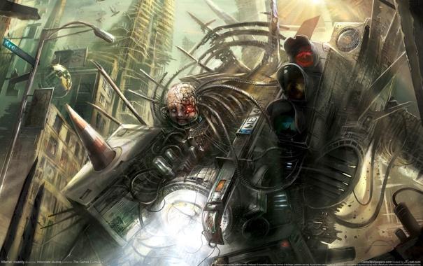 Фото обои энергия, город, провода, механизм, робот, монстр, светофор