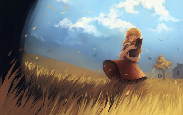 Фото обои поле, кошка, листья, девушка, облака, дом, дерево