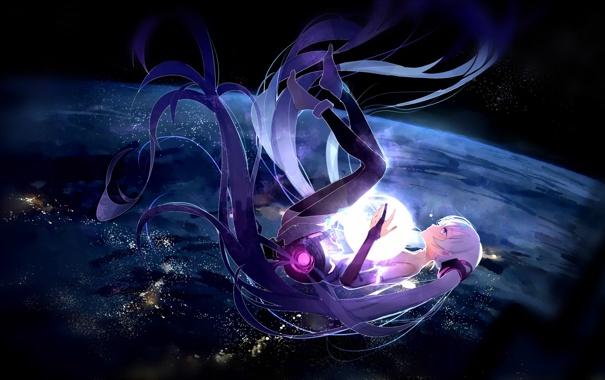 Фото обои vocaloid, космос, islandwime, звезды, девушка, огни, аниме