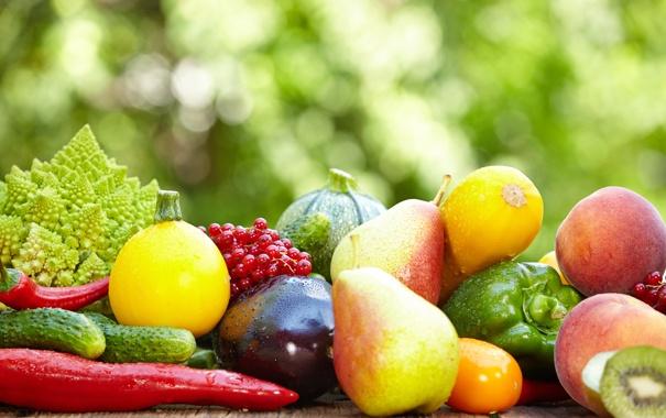 Фото обои баклажаны, перец, фрукты, овощи, персики, груши, смородина