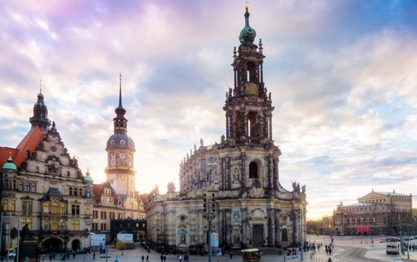 Фото обои город, люди, здания, Германия, Дрезден, церковь, архитектура