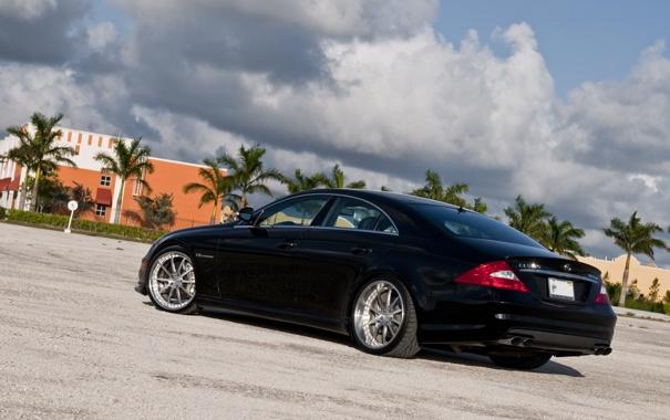 Фото обои небо, облака, пальмы, чёрный, Mercedes, black, мерседес