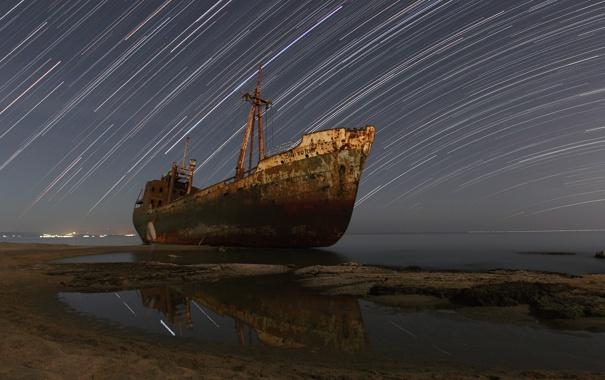 Фото обои море, космос, корабль