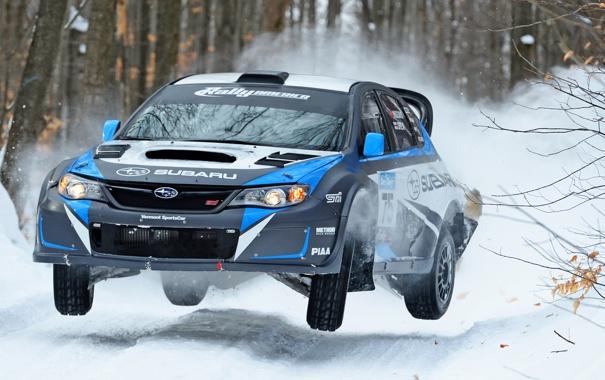 Фото обои Зима, Subaru, Impreza, Снег, Лес, Машина, Занос