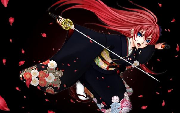 Фото обои девушка, оружие, катана, лепестки, арт, кимоно, vocaloid