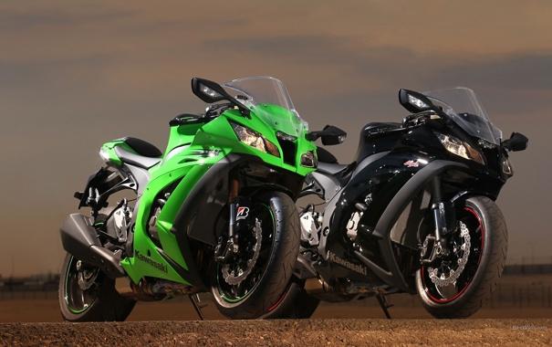 Фото обои пара, Kawasaki, zx-10r