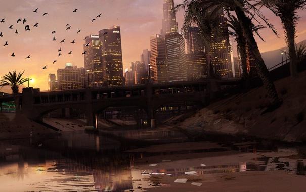 Фото обои город, арт, америка, GTA V, los Santos