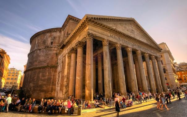 Фото обои люди, площадь, Рим, Италия, колонны, Пантеон