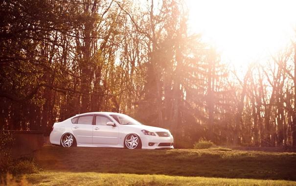 Фото обои stance, infiniti M35, деревья, солнце, пневмо, тюнинг, свет