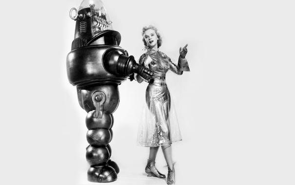 Фото обои девушка, ретро, робот